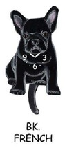Pink Cloud Black French Bulldog Swinging Pendulum Wall Clock - $41.99