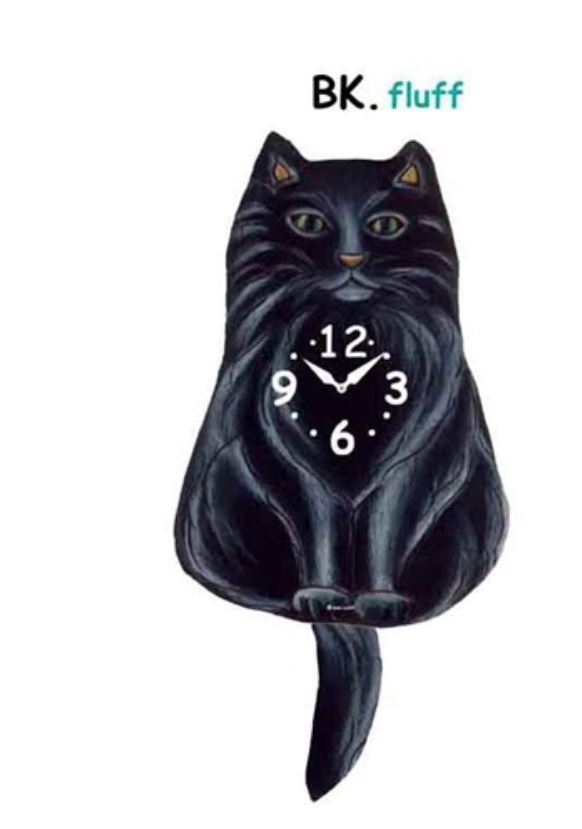 Pink Cloud Black Fluffy Cat Swinging Pendulum Wall Clock