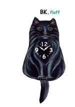 Pink Cloud Black Fluffy Cat Swinging Pendulum Wall Clock - $41.99