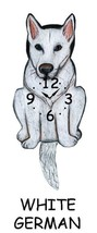 Pink Cloud White German Shepherd Dog Swinging Pendulum Wall Clock - $41.99