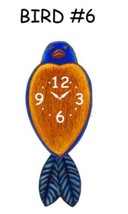 Pink Cloud Blue and Orange Bird #6 Swinging Tail Feather Pendulum Wall C... - $41.99
