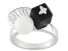 Ring Cacharel simple with ball, leaf and cube (CWR132NM), Sterling Silve... - £38.02 GBP