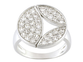 Ring Cacharel simple with round shape and stones (CSR096Z) Sterling Silv... - £45.58 GBP