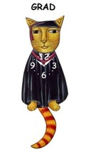Pink Cloud Graduate Cat with Black Cap and Gown Swinging Pendulum Wall C... - $41.99