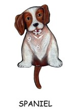 Pink Cloud Brown Spaniel Dog Swinging Tail Pendulum Wall Clock - $41.99