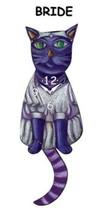 Pink Cloud Purple Cat Bride Swinging Pendulum Wall Clock - $41.99