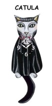 "Pink Cloud ""Catula"" White Vampire Cat Swinging Pendulum Wall Clock - $41.99"