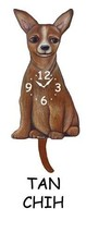 Pink Cloud Tan Chihuahua Swinging Pendulum Wall Clock - $41.99