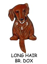 Pink Cloud Long Hair Brown Dox Dachshund Swinging Tail Pendulum Wall Clock - $41.99