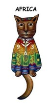 Pink Cloud African Cat Swinging Pendulum Wall Clock - $41.99