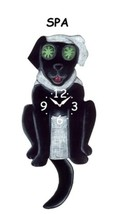 Pink Cloud Black Spa Dog Swinging Tail Pendulum Wall Clock - $41.99