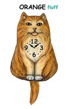 Pink Cloud Orange Fluffy Cat Swinging Tail Pendulum Wall Clock - $41.99