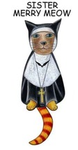 Pink Cloud Sister Merry Meow Nun Cat Swinging Pendulum Wall Clock - $41.99