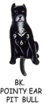 Pink Cloud Black Pointy Ear Pitbull Swinging Pendulum Wall Clock - $41.99