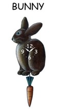 Pink Cloud Black Bunny Swinging Carrot Pendulum Wall Clock - $41.99