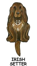 Pink Cloud Irish Setter Swinging Tail Pendulum Wall Clock - $41.99