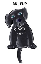 Pink Cloud Black Pup Swinging Pendulum Wall Clock - $41.99