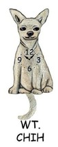 Pink Cloud White Chihuahua Dog Swinging Tail Pendulum Wall Clock - $41.99