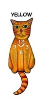 Pink Cloud Yellow Cat Swinging Pendulum Wall Clock - $41.99