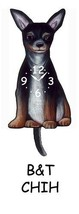 Pink Cloud Black & Tan Chihuahua Swinging Pendulum Wall Clock - $41.99