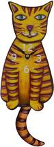 Pink Cloud Yellow & Orange Stripe Kitty Cat Kitten Pendulum Wall Clock - $41.99