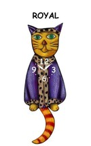 Pink Cloud Royal Cat with Purple Robe Swinging Tail Pendulum Wall Clock - $41.99