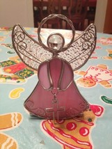 Vintage Pink Guardian Angel with Cross Metal Wire Candle Votive Holder N... - $17.99