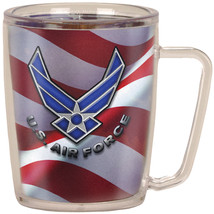 Armed Forces Air Force Emblem Military Pride Acrylic Tumbler Cup With Ha... - $5.57