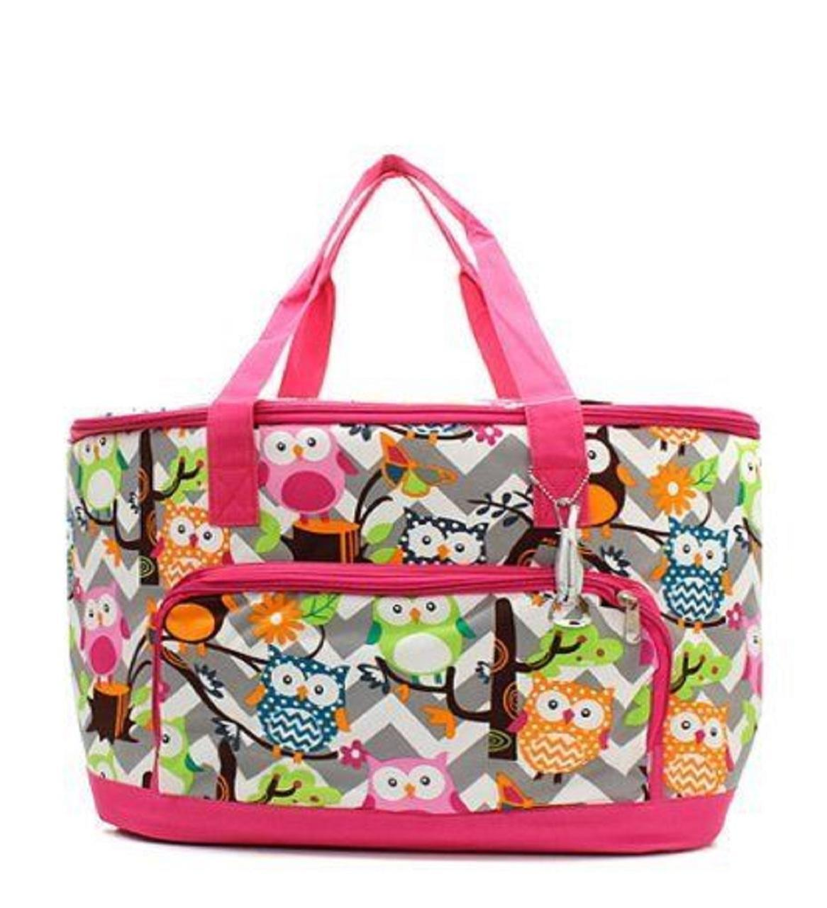 Owl Grey Chevron Stripe Large Insulated Cooler Tote Beach Bag (HOT PINK)