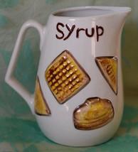 Vintage Fitz & Floyd SYRUP Pitcher Pancakes waffles Toast motif - $16.82