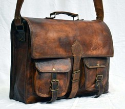 "Leather messenger Bag 15""New Men's shoulder bag vintage briefcase laptop... - $41.52"