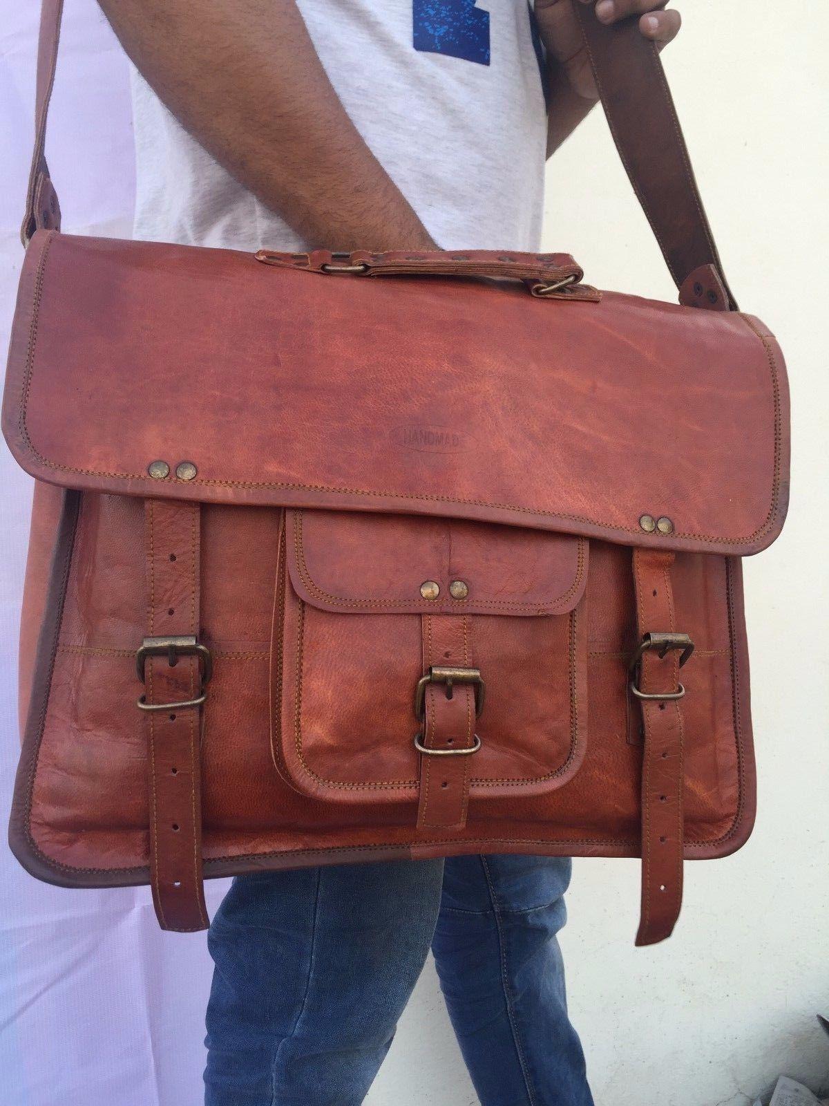 2017 Men's Vintage Looking Leather Messenger Bag Briefcase Shoulder Bag Handmade