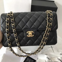 NEW AUTHENTIC CHANEL 2018 BLACK CAVIAR SMALL DOUBLE FLAP BAG GHW RARE image 2