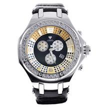 Mens Diamond Watch Aqua Master Chronograph Black Leather Strap - $299.00