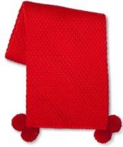 NEW Threshold Red Knit Throw Blanket Pom Pom 50 X 60 Holiday Soft - $518,68 MXN