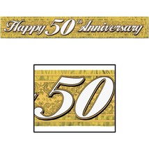Metallic 50th Anniversary Fringe Banner (gold) Party Accessory 5 ft long... - $5.93