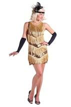 1920's Gold Sequinned & Fringed Flapper Dress - $49.61