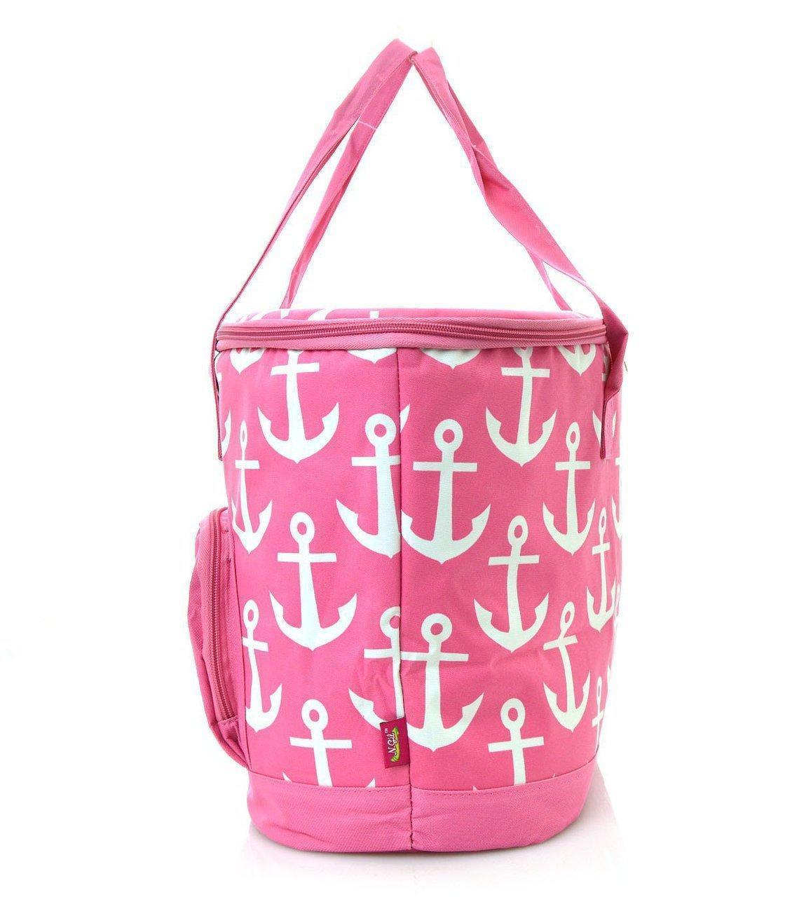 Anchor Print Insulated Cooler Bag (Pink)