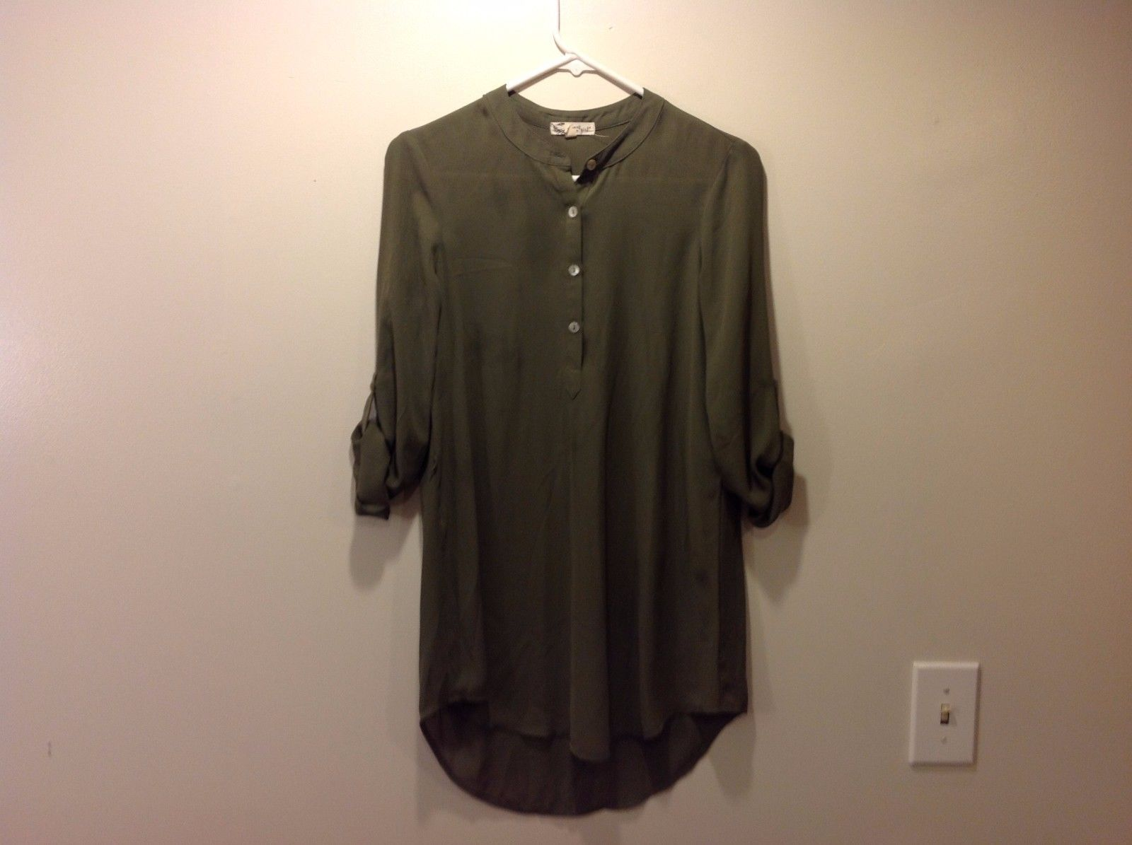 About A Girl Olive Green Shirt Dress Sz XS