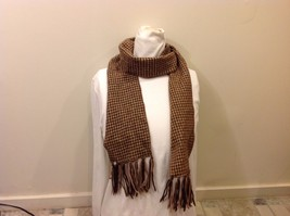 Hounds Tooth Patterned Brown Scarf w Fringed Edge