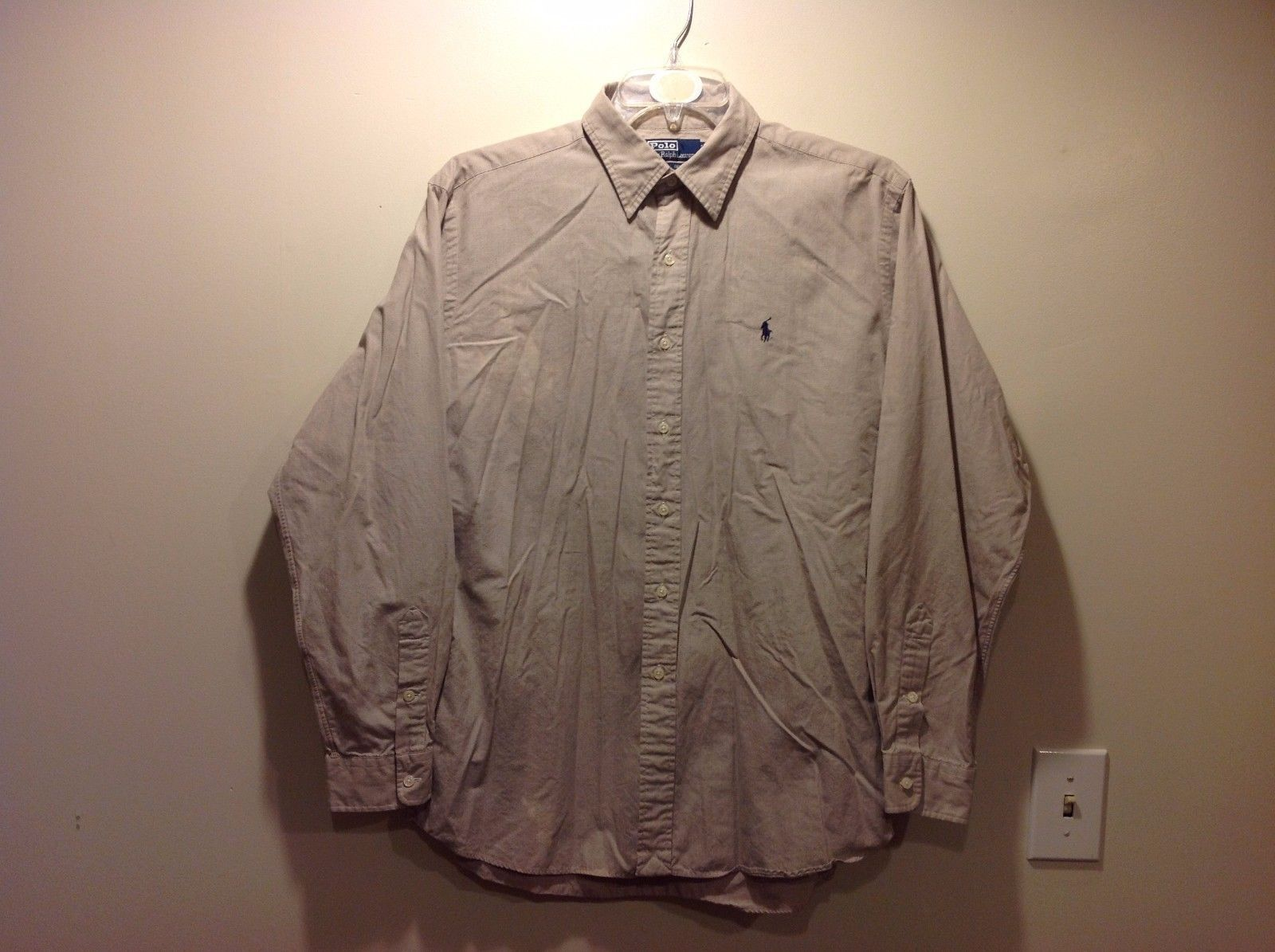 POLO by Ralph Lauren Two Ply Beige Button Up Shirt Sz Large