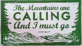 **Rustic Wooden Sign The Mountains Are Calling And...approx 10 x 18 Item... - $32.00