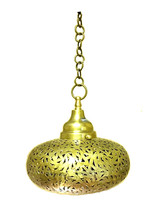 Moroccan Hanging Pendant Carved Brass Metalwork... - $148.50
