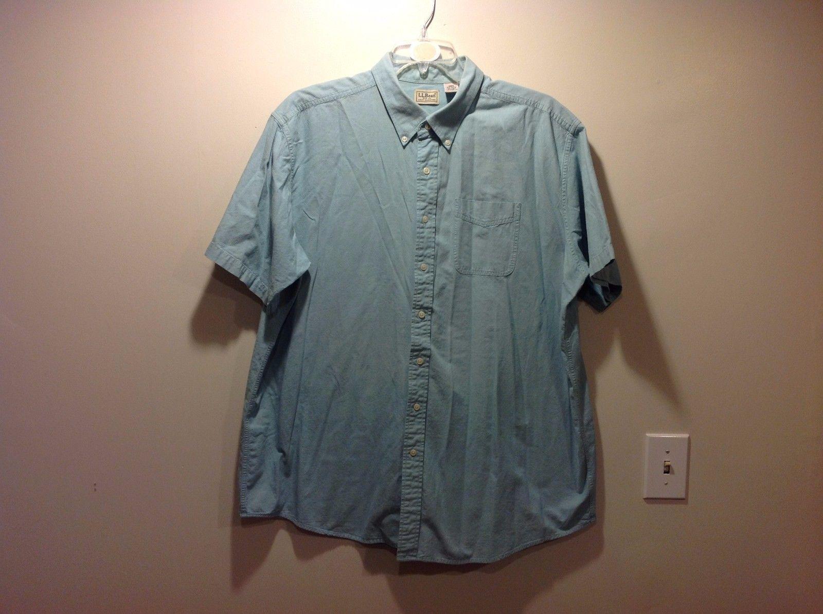 Mens LL Bean Pale Blue Short Sleeve Button Up Shirt Tall XXL