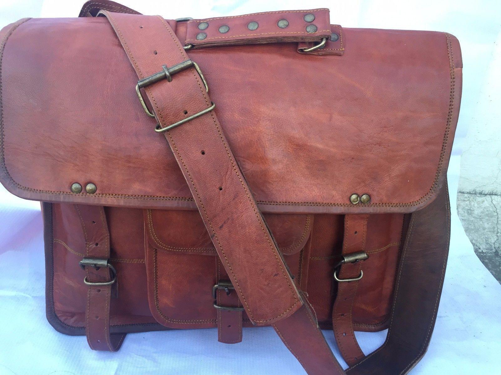 2017 Men's Vintage Looking Leather Messenger Bag Briefcase Shoulder Bag Handmade image 2