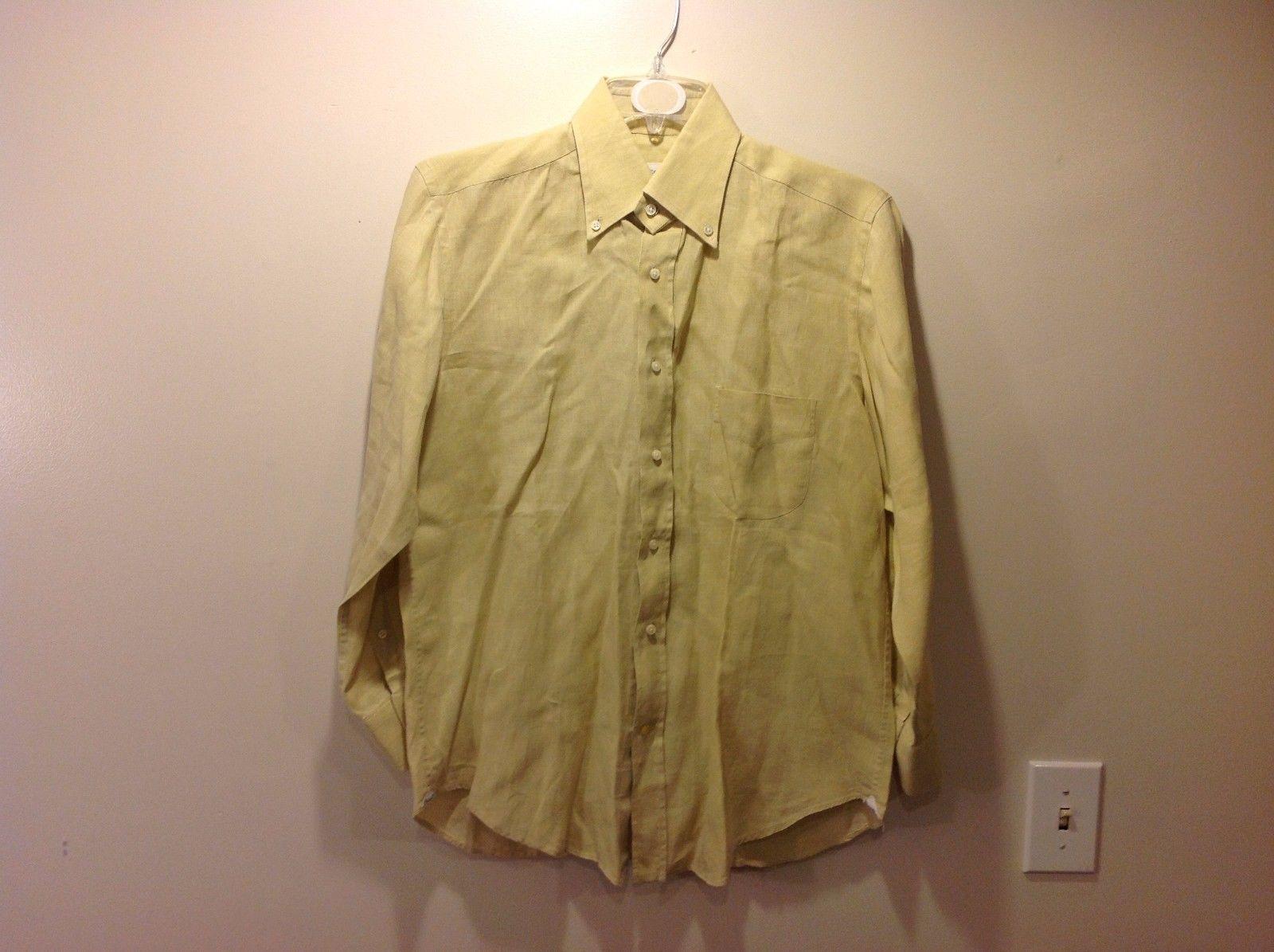 Mens Napoli UGO COLLELA Light Yellowy Green Button Up Shirt Sz 15 38