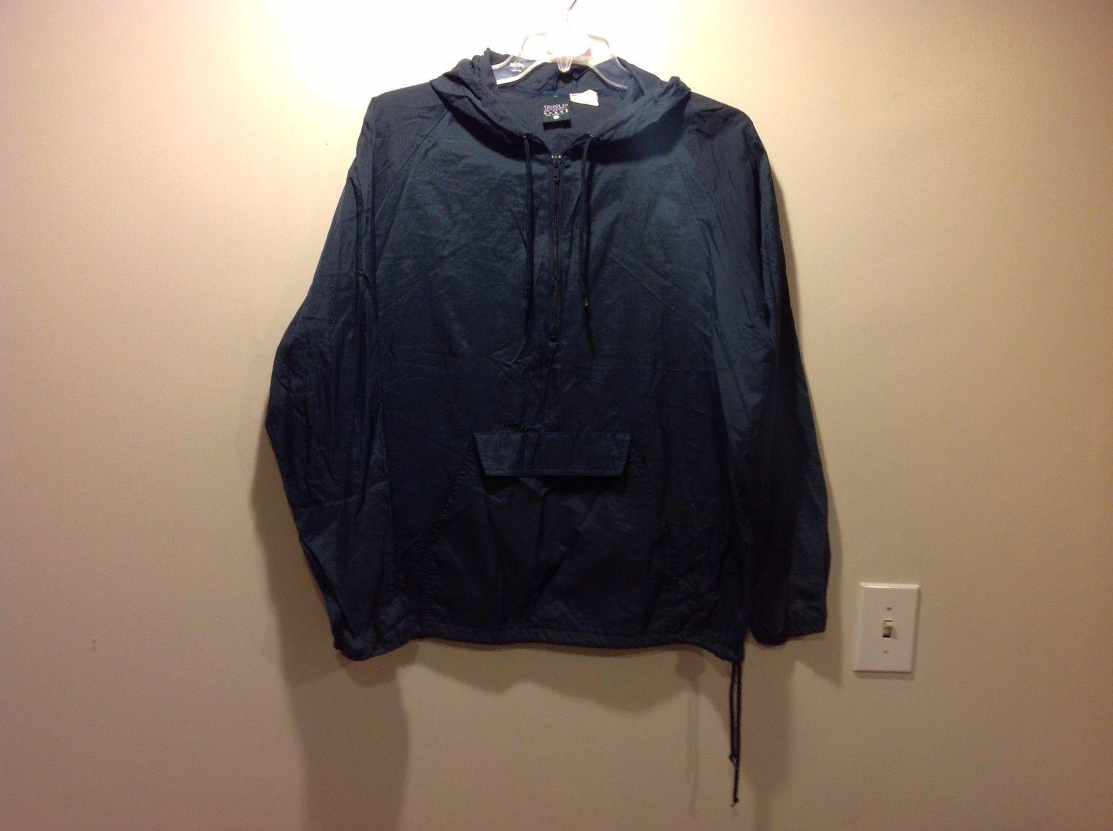 MV Sport Dark Navy Blue Hooded Windbreaker Pullover Jacket Sz Medium