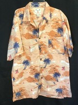 Men's Joe Marlin Hawaiian Camp Shirt Short Sleeve Button Up Orange Sz Lg... - $14.50