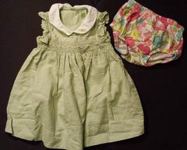 Girl's Size 6 M 3-6 Months Green Carter's Floral Dress & Osh Kosh Diaper... - $9.00