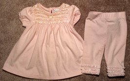 Girl's Size 3 M 0-3 Months Two Pc Savannah Pink Floral Ruffled Dress & L... - $8.50